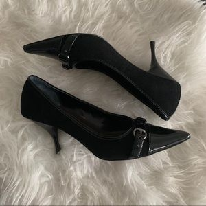 Linea Paolo buckle pointed toe stiletto black heel